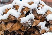 Firewood Under The Snow. Dry Firewood. Firewood On The Street. Snow. Use The Stove. Firewood In The poster