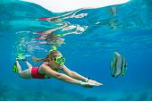 Happy Family - Active Woman In Snorkeling Mask Dive Underwater, See Tropical Fishes In Coral Reef Se poster