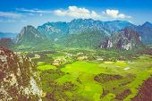 Aerial View Of Beautiful Landscapes At Vang Vieng , Laos. Southeast Asia. Photo Made By Drone From A poster