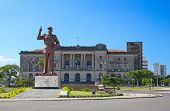 stock photo of communist symbol  - City hall and statue of Michel Samora in Maputo - JPG