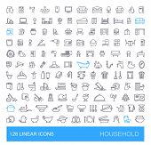 Vector Icons On Furniture, Kitchen, Cleaning, Household Appliances And Equipment. 128 Linear Househo poster