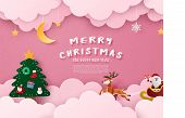 Merry Christmas And Happy New Year Greeting Card In Paper Cut Style. Vector Illustration Christmas C poster