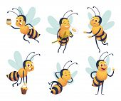 Cartoon Bee. Happy Flying Insect Mascot Bee Nature Honey Delivers Vector Characters Isolated. Mascot poster