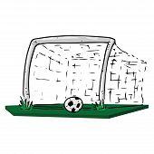 Football Goal Icon. Vector Of Football Goal With Ball. Hand Drawn Ball Near The Football Goal. poster