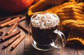 Hot Chocolate In Mug With Marshmallows And Cinnamon On Wooden Table. Double Bottom Glass Mug With Ho poster