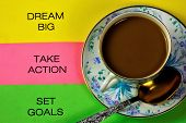 Big Dream, Set Goals, Take Action. Dream Is A Kind Of Imagination Which Expresses Desire. The Goal I poster