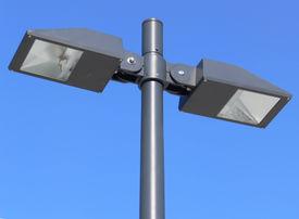 stock photo of light fixture  - lighting fixture over blue sky - JPG