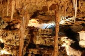 stock photo of carlsbad caverns  - Inside view of an underground cavern or cave with stalagmites and stalactites - JPG