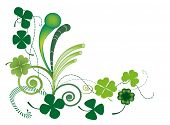 foto of four leaf clover  - Raster illustration of three and four clover leaves for Patrick - JPG