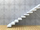 picture of stairway  - Concept or conceptual white stone or concrete stair or steps near a wall background with wood floor - JPG