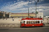 Lisbon, Portugal - May 7, 2008: Red Sightseeing Tram Starts From Downtown Commerce Square Lisbon On