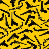 picture of crossed pistols  - Handgun Silhouettes Seamless Pattern - JPG
