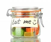 picture of eat me  - Multicolor candies in glass jar - JPG