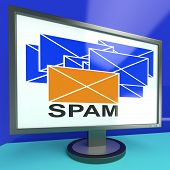 Spam Envelope On Monitor Showing Malicious Messages