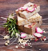 foto of sea oats  - Oatmeal soap  with roses - JPG