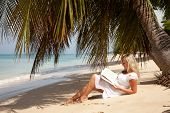 foto of palm-reading  - blond women reading under palm tree in Barbados - JPG