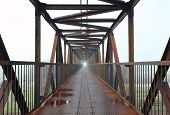 stock photo of skyway bridge  - Steel bridge for people with a mist - JPG