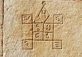 image of jainism  - Ancient hindu astrology symbols on the wall of old medieval house in Jaisalmer India Rajasthan - JPG