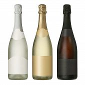 image of merge  - Three merged photographs of different champagne or sparkling wine bottles with blank labels - JPG