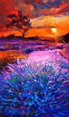image of fascinator  - Original oil painting of lavender fields on canvas - JPG