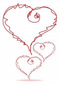 picture of broken heart flower  - three red heart on a white background isolated - JPG