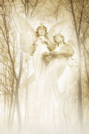 stock photo of wraith  - Twin angelic female figures materialising in an atmospheric misty forest rendered in gentle green tones - JPG