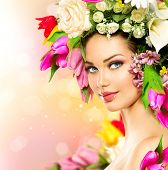 stock photo of beautiful lady  - Spring Woman - JPG