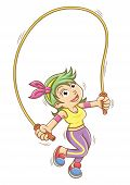 girl playing with a skipping rope.