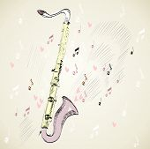 pic of clarinet  - drawn illustration of a musical instrument clarinet - JPG