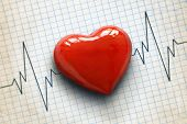 stock photo of beating-heart  - Cardiogram pulse trace and heart concept for cardiovascular medical exam - JPG