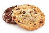 picture of cookie  - Large light chocolate chip cookie on a white surface - JPG