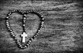 Simple Cross Inside Heart Shape - B&W