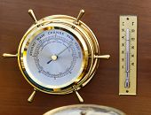 pic of barometer  - Retro style brass barometer and thermomether weather station - JPG