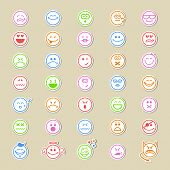 picture of emoticon  - Large collection of round smiley icons or emoticons showing a wide variety of different expressions in thirty - JPG