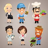 stock photo of chef cap  - Professions Cartoon Characters Set1 - JPG