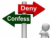 Confess Deny Signpost Shows Confessing Or Denying Guilt Innocence