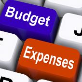 foto of budget  - Budget Expenses Keys Showing Company Accounts And Budgeting - JPG