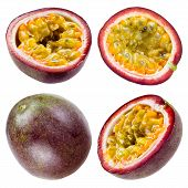 stock photo of passion fruit  - Four pieces of passion fruit isolated on white background - JPG