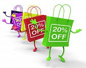 Twenty Percent Off On Colored Shopping Bags Show Bargains