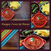 stock photo of mexican fiesta  - Happy Cinco de Mayo 5th May party table celebration collage with Mexican colors food background and sample text - JPG