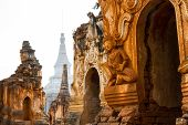 foto of shan  - Beautiful ancient ruins at Inn Thein Paya a large temple complex near Inle Lake in Shan State Myanmar (Burma).