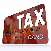 stock photo of irs  - Tax On Credit Debit Card Shows Taxes Return Irs - JPG