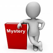 Mystery Book And Character Shows Fiction Genre Or Puzzle To Solve