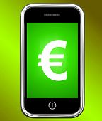 Euro Sign On Phone Shows European Currency