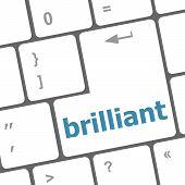 pic of qwerty  - brilliant word on keyboard key - JPG