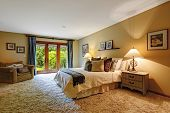 picture of master bedroom  - Master bedroom interior with exit to backayrd - JPG