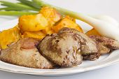 stock photo of liver fry  - Fried liver served with potatoes and onions - JPG