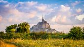 picture of mont saint michel  - View at the Mont Saint-Michel in morning haze ** Note: Visible grain at 100%, best at smaller sizes - JPG