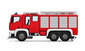 picture of ladder truck  - Fire Rescue Truck isolated on white background - JPG