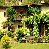 picture of hamlet  - Idyllic stone rural house with blossom flowers in summer pretty cottage garden - JPG